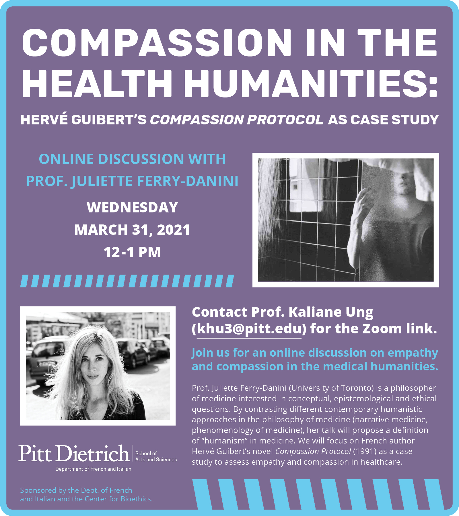 COMPASSION IN THE HEALTH HUMANITIES: HERVÉ GUIBERT'S COMPASSION PROTOCOL AS CASE STUDY event details in blue and white text with a lavender background