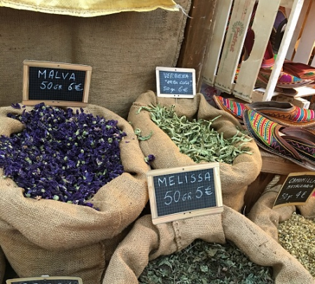 Mediterranean herbs on sale at the annual Suq Festival in Genoa, Italy (2016)